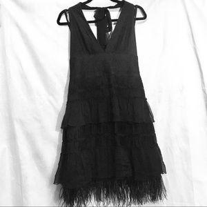 BCBGMaxAzria black halter dress w/ feathered hem